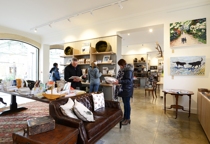 Interior of the new courtyard gift shop at Holkham