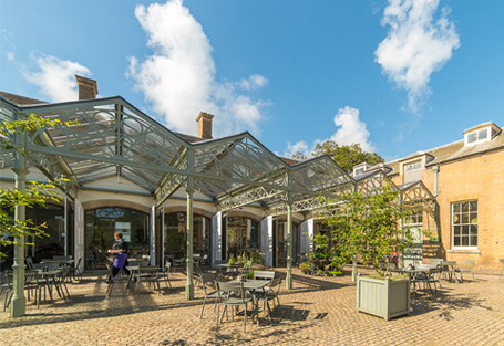 Sheltered seating outside the courtyard cafe at Holkham, North Norfolk