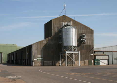 One of the three grain stores within the Holkham farming department